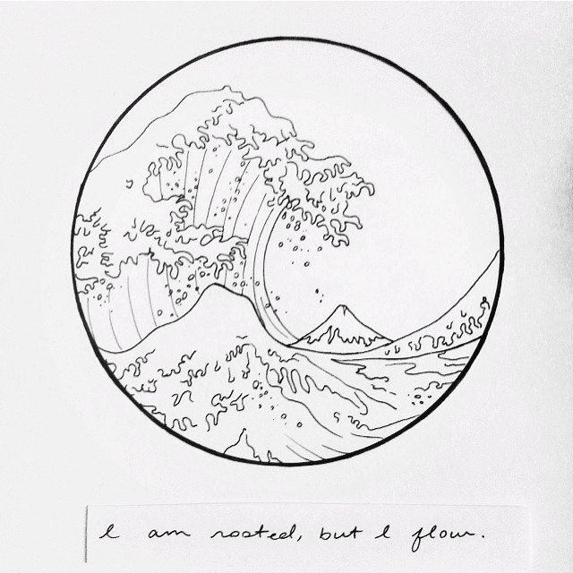 """""""I am rooted, but I flow""""  Hokusai's Great Wave drawing by @elesq with the words of Virginia Woolf."""