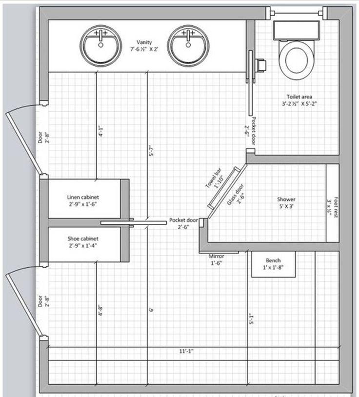 Master bath and closet floor plan bathroom layouts for Master bathroom and closet layouts