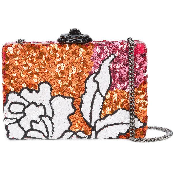 Oscar de la Renta floral clutch ($3,305) ❤ liked on Polyvore featuring bags, handbags, clutches, multicolour, multi colored purses, floral handbags, sequin clutches, multi colored clutches and multicolor handbags