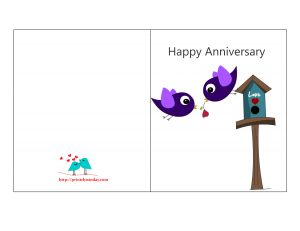 High Quality Free Printable Anniversary Card Featuring Love Birds Inside Print Anniversary Card
