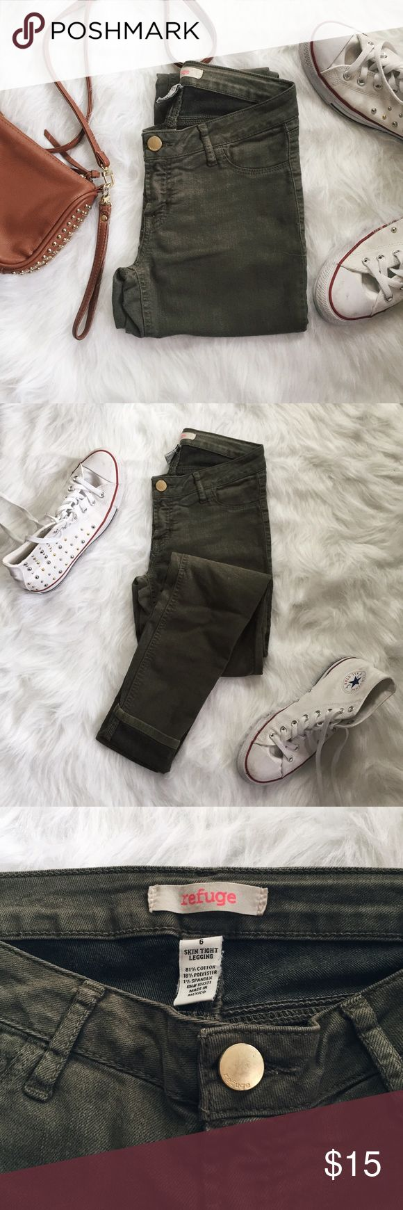 Olive Green Mid-Rise Skinny Jeans ▪️Product Description▪️ ▫️The trendy olive green color meets the classic skinny jean ▫️No rips for a clean and versatile look- casual or dressy  ▫️Brand listed, originally purchased from Charlotte Rousse   ▪️Fit: Runs small- suitable to 26 inch waist, low/medium rise, skinny and hugs curves  ▪️Condition: Gently used, pull in the threading (see photos) ▪️Measurements: Approx/Laying Flat  ▫️Waist- 13 inches  ▫️Inseam- 28 inches refuge Jeans Skinny