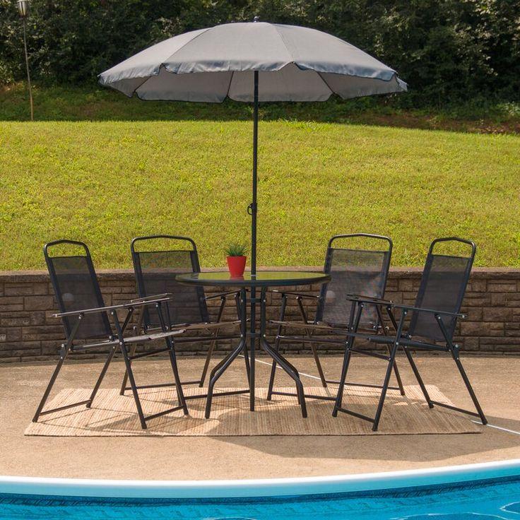 Nantucket Brown 6 Piece Sunbrella Bistro Set with Umbrella
