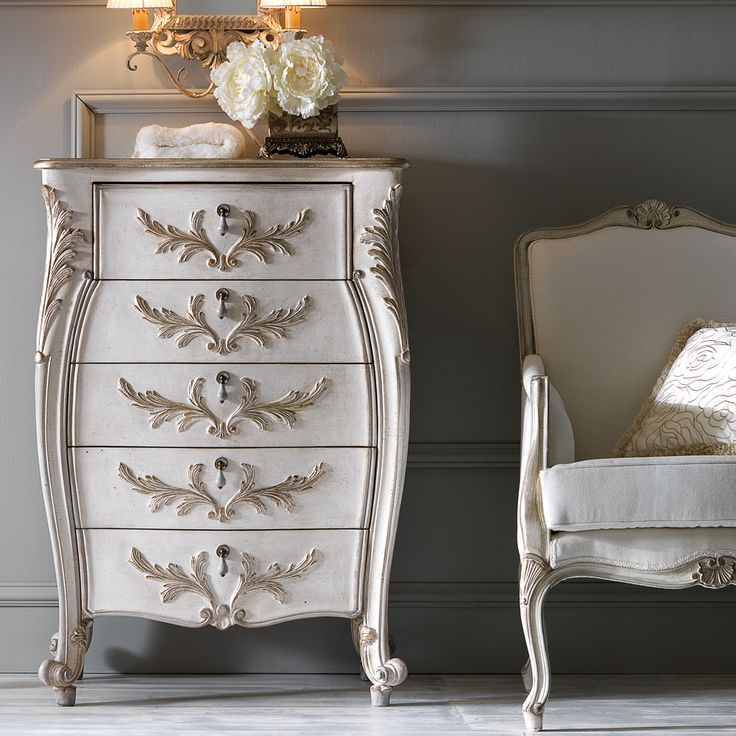 Ornate Carved Italian Narrow Chest of Drawers