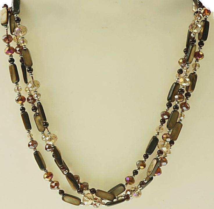 Necklace with brown beading.