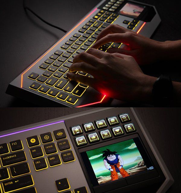 Gentleman's keyboard with LCD touchpad.