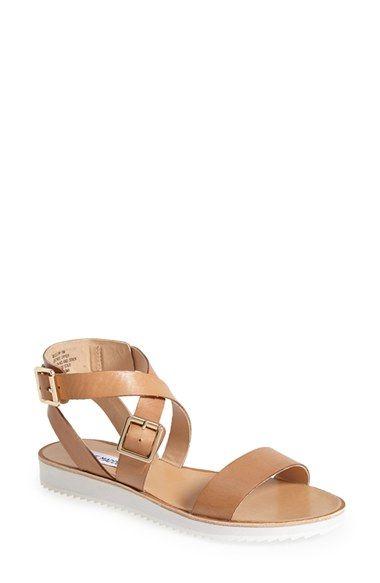 Steve Madden 'Melllow' Crisscross Strap Sandal (Women) - Tan Leather | Nordstrom