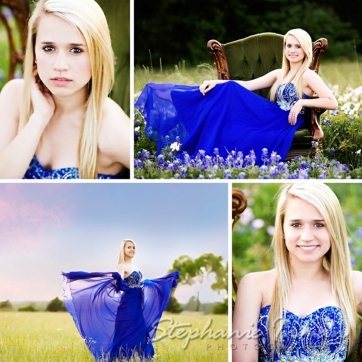 Stephanie Inman Photography : The Woodlands, Tx    Tomball High School ~ Senior ~  formal gown, posing, field, chair, bluebonnets, photographer
