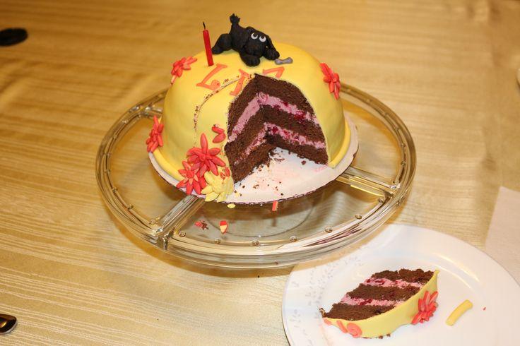 Chocolate Cake with raspberry buttercream and fresh raspberries - Cocoabai Cakes