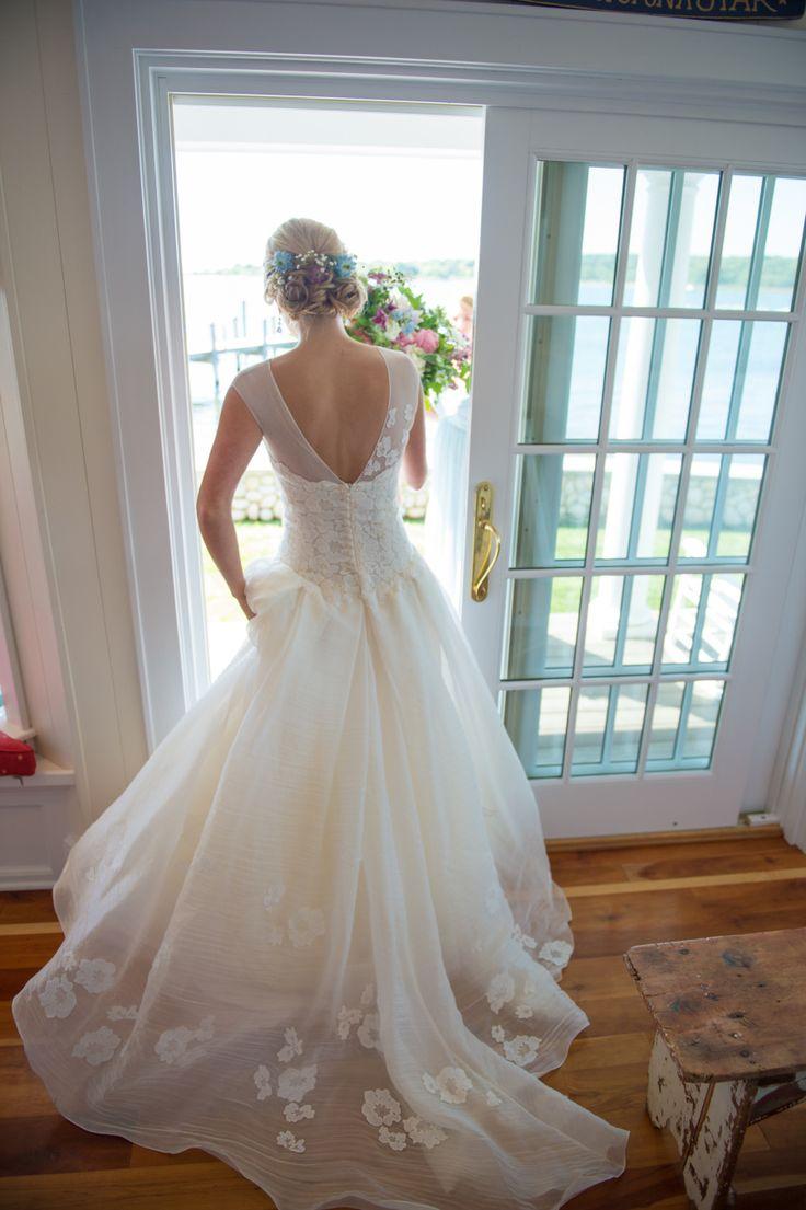 White Open Back Wedding Dress   Winery Wedding   True Event   http://www.trueevent.com http://www.stylemepretty.com/connecticut-weddings/north-stonington/2015/12/31/rustic-floral-filled-connecticut-winery-wedding/