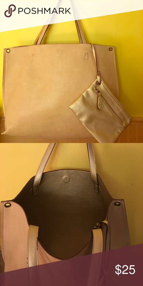 Urban Outfitters Reversible Tote Bag Faux leather, cream outside and reversible gold Metallic inside. Used, but very good condition Urban Outfitters Bags Totes