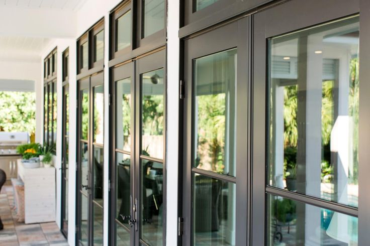 French doors open to allow easy access from the great room for French doors that open out