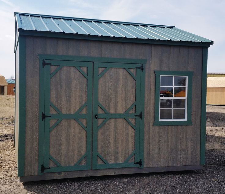 10x12 Garden Shed. Green Steel Roof With Matching Green Trim. LP Smartside  Siding With