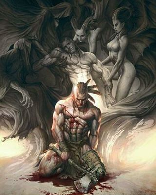 """Battle Wounds: Fallowing Gracefully In Battle. Undefeated. Fallin But, I Pick Myself Up Again; And Again. Determind And Too Stubborn; To Lay Down. Fight On. And On And On. My Battle """" Celtic/Viking""""..."""