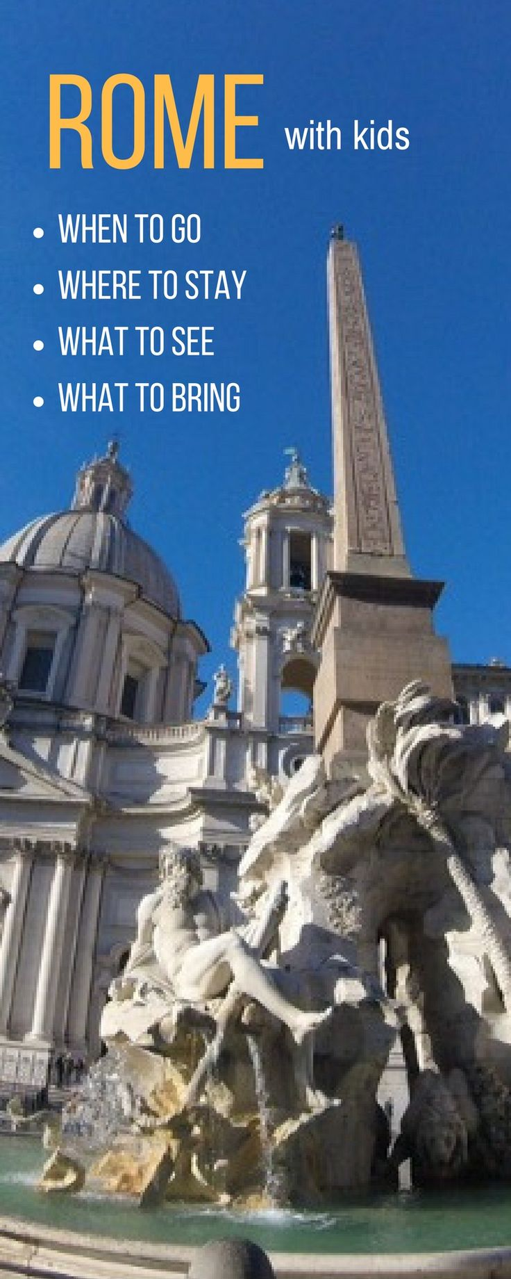 A great guide for  visiting Rome with kids curated by a local mum! Find out family friendly museums in Rome, Rome attractions for kids, the best kids tours in Rome PLUS tips and advice about what to bring and where to stay. Family travel to Rome made easy! Click on the pin to read the full guide. Rome Travel | family Travel Rome | Rome with kids! Rome with family! Rome with children