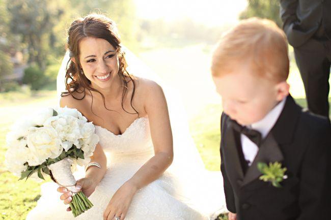 Love this bride's half-updo.
