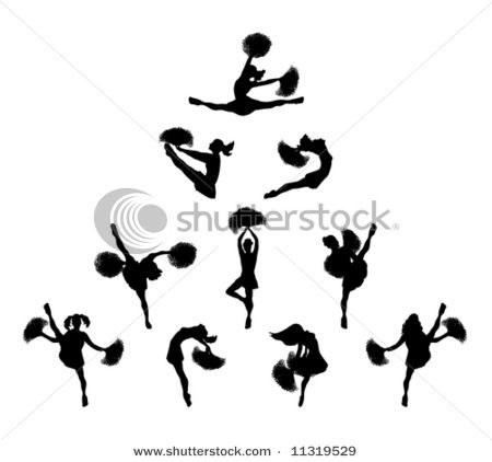 Silhouette Clip Art Picture Showing Cheerleaders in Many Poses in ...