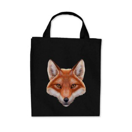 Red Fox Face Grocery Tote Bag - portrait gifts cyo diy personalize custom