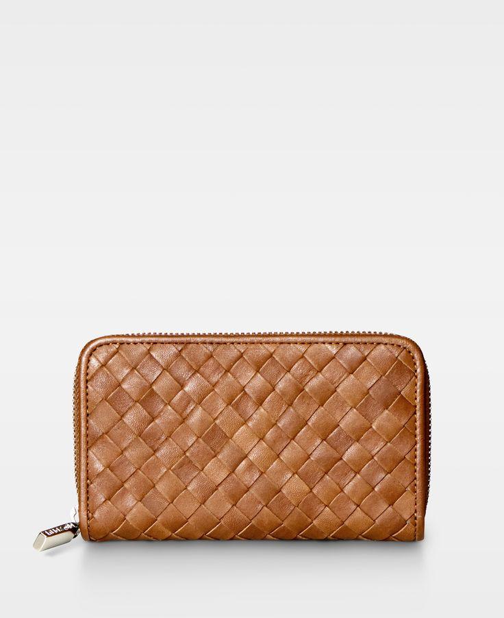 DECADENT Woven Medium Zip Wallet in Cognac.