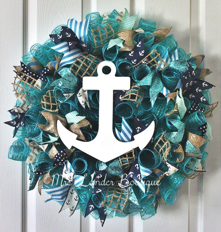 Teal and Navy Blue Nautical Wreath - Anchor Wreath - Beach Themed Wreath - Teal Seaside Summer Ocean Deco Mesh Door Decor by MrsLanderBoutique on Etsy