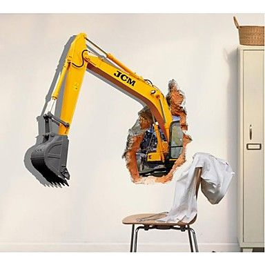 3D The Excavator  Wall Stickers Wall Decals  – USD $ 16.99
