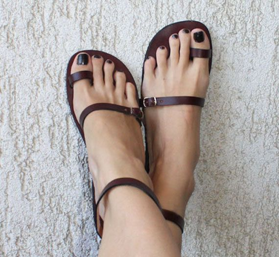 Toe Ring Ankle Strap Barefoot Sandals With Silver Buckles - Breeze