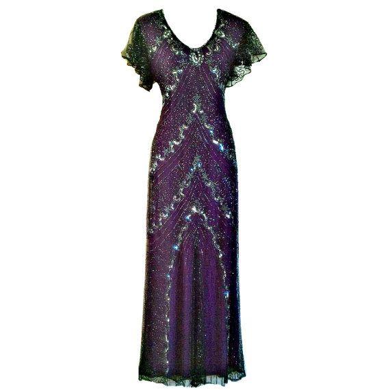 SALE 1920s Great Gatsby Inspired Dress, Long Purple Maxi Evening Gown, Charleston Sequin Dress, Beaded Flapper, Roaring 20s Wedding Dress, L