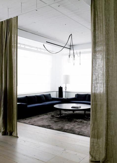 for the studio...Decor, Ideas, Curtains Dividers, Living Rooms, Interiors Design, Burlap Curtains, Loft Spaces, Design Home, Room Dividers