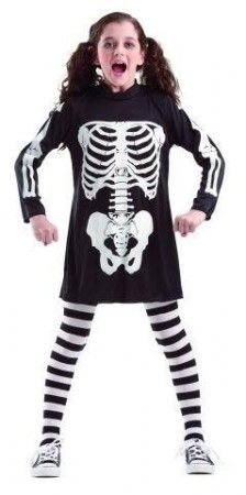 Skelett Kostüm für Mädchen