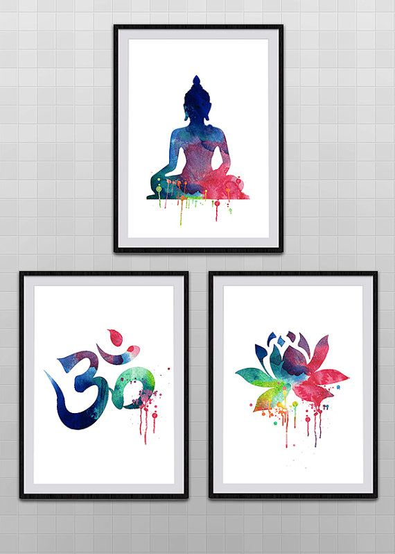 Set of 3 Yoga Meditation Zen Watercolor Art Print  Om Symbol