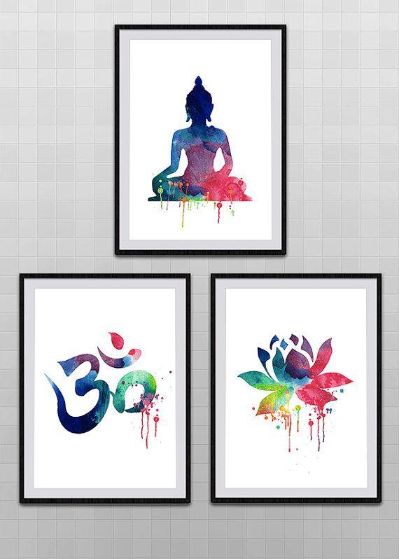 Set of 3 Yoga Meditation Zen Watercolor Art by SchioStudio360