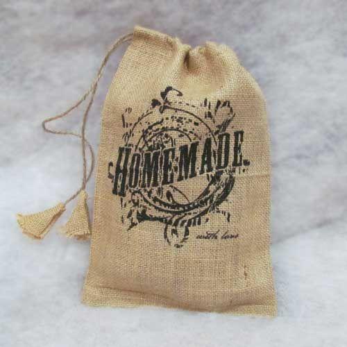 Burlap Bag Small - Homemade - use for wrapping homemade gifts.  Perfect for handmade Christmas gifts!