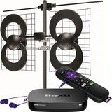 Roku - Roku Premiere+ Streaming Media Player & Antennas Direct ClearStream 4V Indoor/Outdoor HDTV Antenna Package