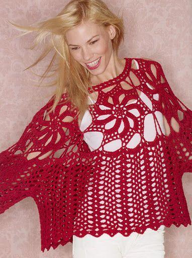 Crochet red tunic ♥️LCT-MRS♥️ With basic diagrama --- Blusa amplia en crochet muy calado | Ruthy Crochet y más...
