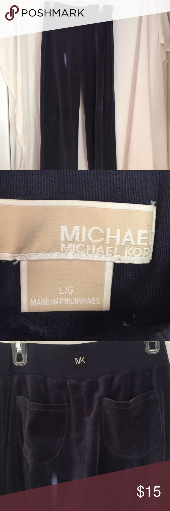 🎈Markdown! Michael Kors l large lounge sweatpants Very good condition. Size large. Blue. Velour/terry feel.    That light spot in the picture is just the light peeking out from the curtain.  Oops MICHAEL Michael Kors Pants Track Pants & Joggers