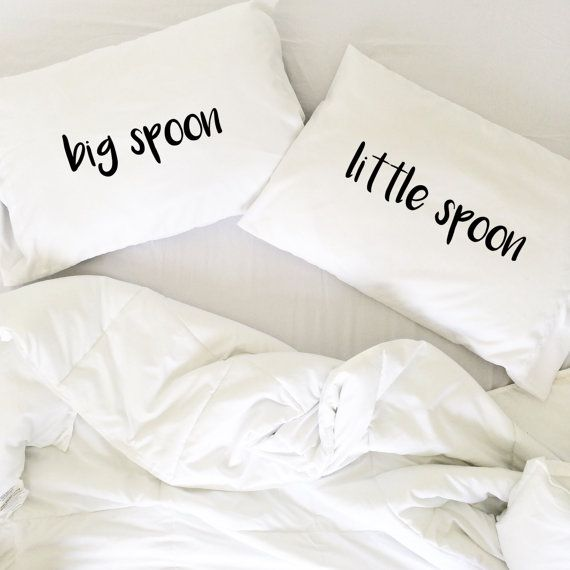 Wedding Gift Big Spoon Little Spoon Pillow Cases for couples, Weddings, Love Pillowcases, His and Hers Pillows Couples Pillow