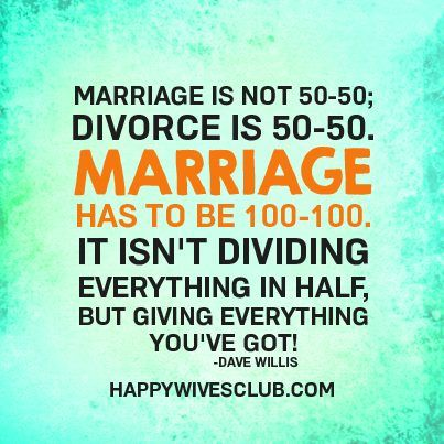 """""""Marriage is not 50-50; divorce is 50-50. Marriage has to be 100-100. It isn't dividing everything in half, but giving everything you've got!"""" -Dave Willis"""