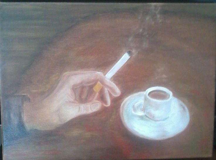 coffee time. Oli on canvas by Litsa Raftopoulou