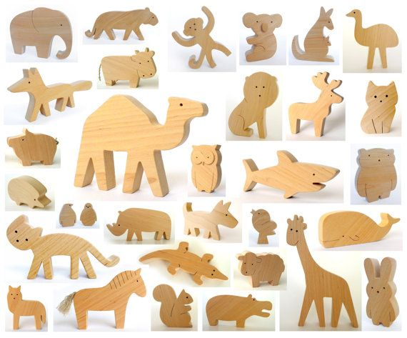 ANY 2 animals - Organic wooden toy - wooden animals - handmade wooden toys - baby wooden toy