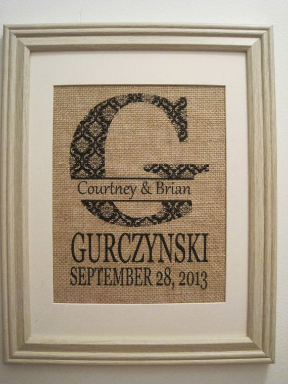 Wedding GiftPersonalized Burlap PrintBurlap by SunBeamSigns, $21.00