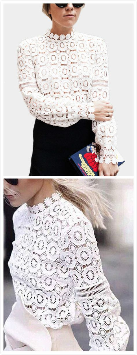 This lace details blouses is with hollow design, long sleeves and high neck. Perfect with skirts when you go for a date.Â