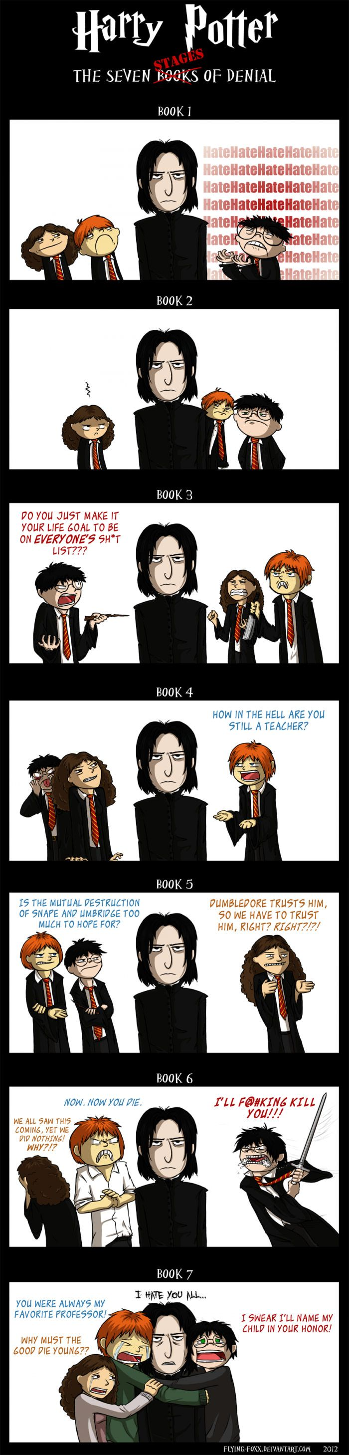 """This """"Harry Potter: Seven Stages Of Denial"""" Comic Explains Why We Love Snape 