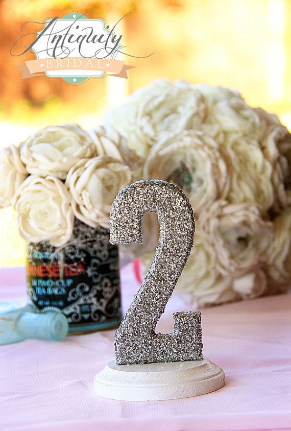 Glittered Table Numbers - Wedding Table Topper - 1-10 - gold silver pink aqua blue. via Etsy.