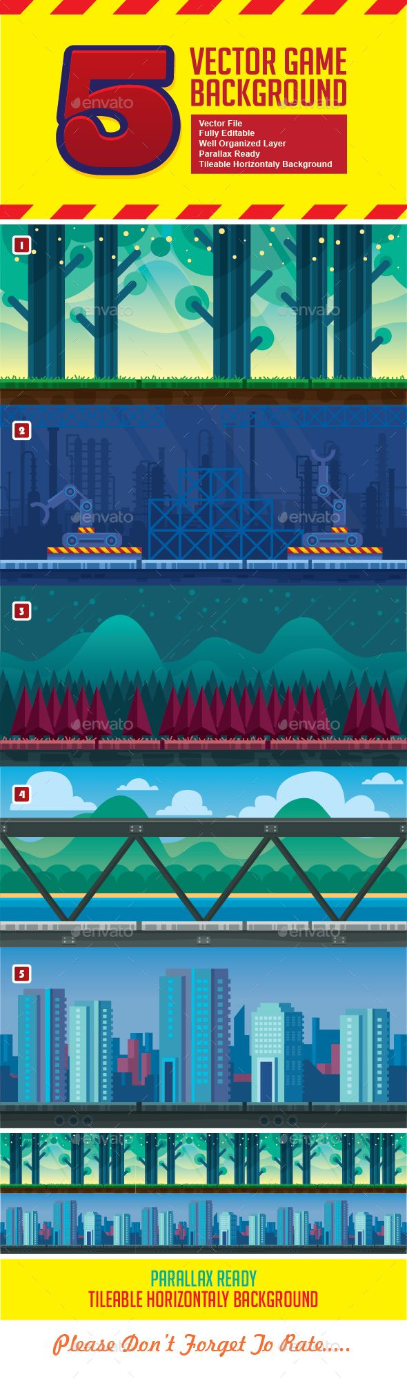 Vector Endless Game Backgrounds