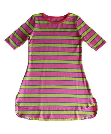 Loving this Pink Striper Sweet Tea Taylored Tee Dress - Toddler & Girls on #zulily! #zulilyfinds