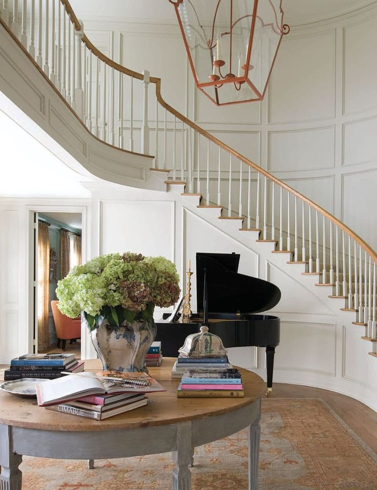 1000 images about entry foyer stairs french country for Furniture for curved wall in foyer
