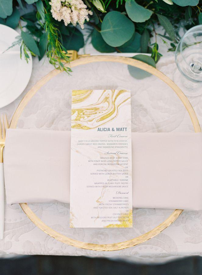 Gold marble wedding menus and acrylic plating: http://www.stylemepretty.com/little-black-book-blog/2016/10/10/romantic-pasadena-garden-estate-wedding/ Photography: The Great Romance - http://thegreatromancephoto.com/