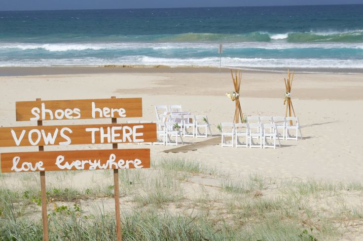 Wedding ceremony sign at Tugun Beach, Gold Coast