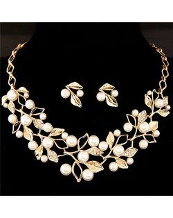 Pearl Decorated Fruits Twig Design Statement Fashion Necklace and Earrings Set - Golden