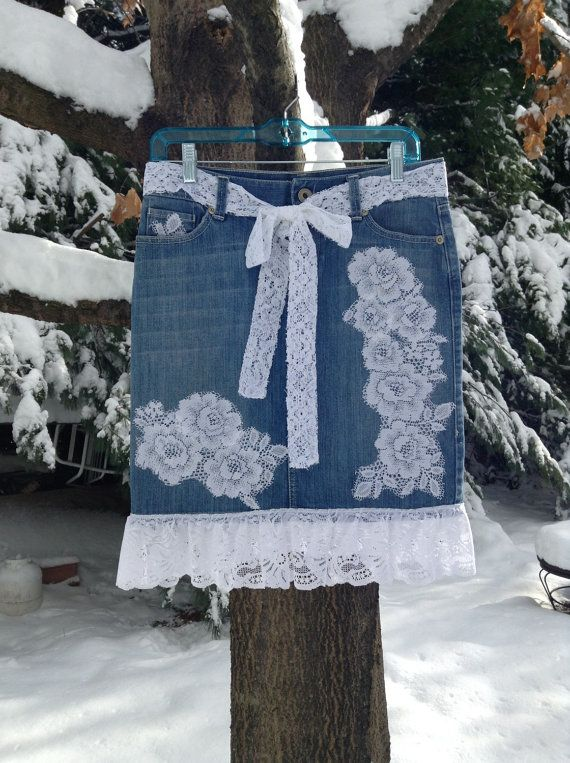 SALE Upcycled Denim Skirt Trimmed with White by DragonflyDenim