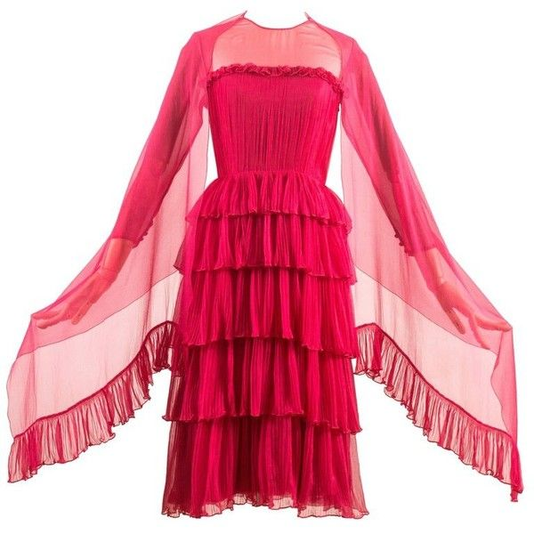 Chanel Haute Couture Spring-Summer 1973 silk fuchsia pleated evening... ❤ liked on Polyvore featuring dresses, ruffle dress, pleated dress, fuchsia dress, red silk dress and layered dress